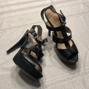 Black GUESS strappy heels